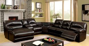 The Livingroom Glasgow by Glasgow Reclining Sectional Sofa Cm6822br In Brown Leatherette