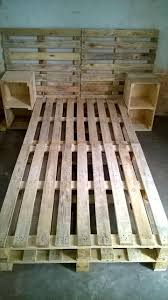 Pallets Patio Furniture - pallet bed frame with side tables and headboard 30 easy pallet