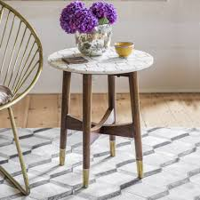 trent white marble and brass inlay side table refurbished