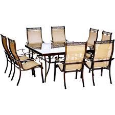 hanover monaco 9 piece aluminum outdoor dining set with square hanover monaco 9 piece aluminum outdoor dining set with square glass top table and