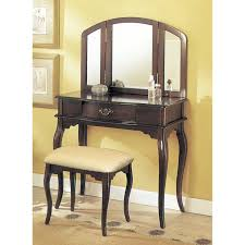 Bedroom Furniture Espresso Finish Ceiling Charming Vanity Table With Mirror For Home Furniture