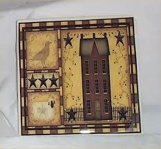 primitive trivet ceramic tile country kitchen salt box decor house