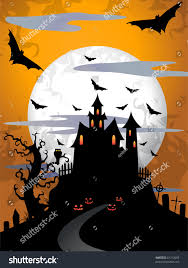 scary moon background scary halloween background moon old tree stock illustration