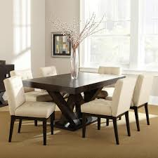 tiffany 7 piece dining set espresso beige tufted dining chairs