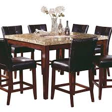 amazing stone and wood square dinning table with black leather