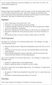 Samples Of Resumes For Highschool Students by Professional High Basketball Coach Templates To Showcase