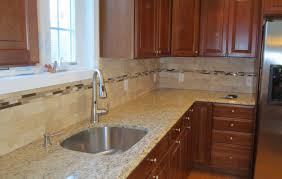 Mosaic Tiles For Kitchen Backsplash Travertine Subway Tile Kitchen Backsplash With A Mosaic Glass Tile