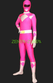 power rangers mighty morphin pink and white lycra full body zentai
