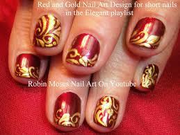 red u0026 gold holiday filigree nail design for short nails youtube