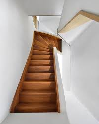 unique wooden staircase design in timber frame house by egeon
