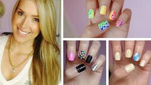 summer nail art three easy designs youtube