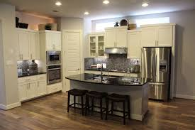 Dark Stained Kitchen Cabinets Stained Kitchen Cabinets Standard Eased Edge White Granite