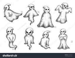 halloween funny cartoon ghosts spooks cute stock vector 461394016