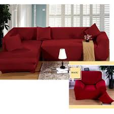 pure red color corner sofa cover stretch l shaped couch pet dog