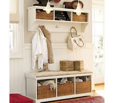 living room white hall tree with storage bench 4 double hooks 2