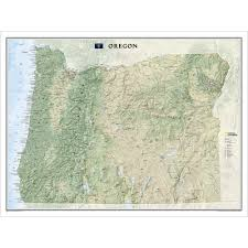 Oregon Map by Oregon Wall Map National Geographic Store