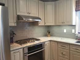 White Tile Kitchen Backsplash Glass Tile Backsplash With White Cabinets Roselawnlutheran