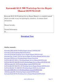 kawasaki kle 500 workshop service repair manual pdf by guang hui