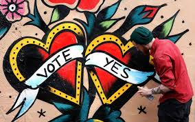 Ireland gay marriage referendum       Getting hitched changed     A graffiti artist finishes a Yes campaign piece in central Dublin Photo Cathal McNaughton Reuters