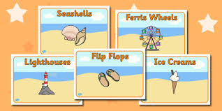 the seaside labels primary resources beach sun sand page 1