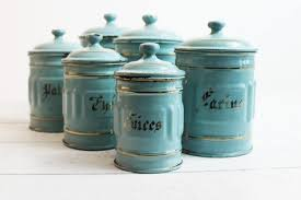 Vintage Kitchen Canister Set Vintage Kitchen Canisters Turquoise Enamel Canisters French