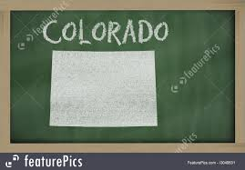 Map Of Colorado by Illustration Of Outline Map Of Colorado On Blackboard