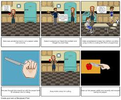 How To Use Kitchen Knives Being Safe In The Kitchen With A Knife Storyboard