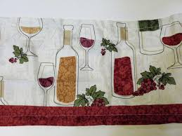 wine bottles grapes kitchen curtains set tiers valance set 26 95 decorate your wine or grape themed kitchen with this 3 piece set of kitchen curtains the body of the curtains are done in white and the main colors