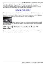 1997 jaguar xj6 workshop service repair manual pdf download