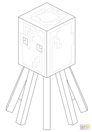 minecraft squid coloring page free printable coloring pages