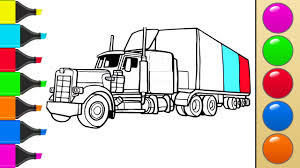 how to draw a truck or tractor trailer art colors for children