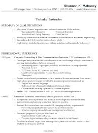 Summary Of Qualifications Sample Resume by Resume Sample For A Technical Instructor Susan Ireland Resumes