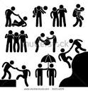 Business Friend Helping Each Other Icon Symbol Sign Pictogram