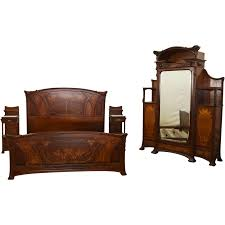 King Bedroom Set Armoire 6671 Art Nouveau Majorelle Bed Armoire And Pair Of Nightstands