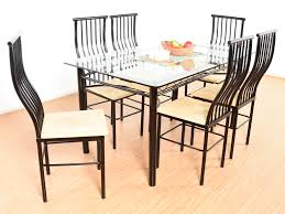 Buy Rubber Wood Furniture Bangalore Akseli Iron Frame 6 Seater Dining Set Buy And Sell Used Furniture