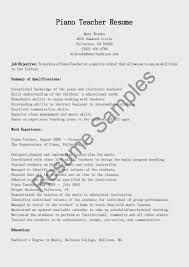 dba sample resume piano teacher resume sample music