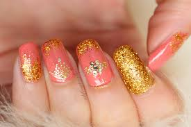 luxe nails jewel nails nail trends 2017 peach u0026 gold nails