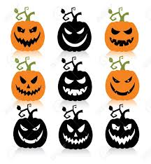 set of a scary halloween pumpkin royalty free cliparts vectors