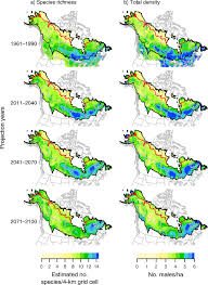 Time Change Map Projected Change Over Time In A Boreal Breeding Bird Species