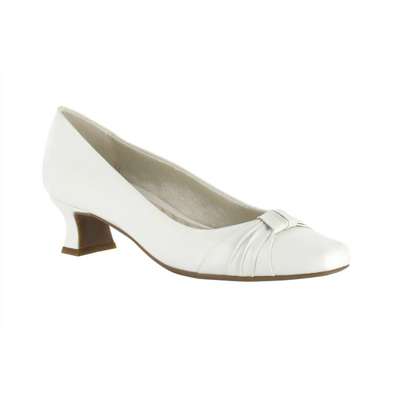 Easy Street Waive Pump With Pleated Overlay (White) Wide 7.5