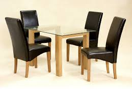 glass dining table and 4 chairs clear small set oak wood finish