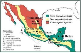 Centro America Map by Central Mexico Disease Geography Ca 1880 Brian Altonen Mph Ms