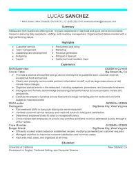 Fast Food Resume Samples by Best Shift Supervisor Resume Example Livecareer