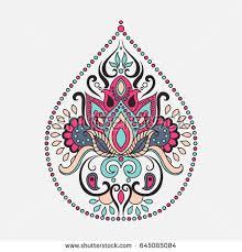 Indian Flower Design Vector Ornamental Lotus Flower Ethnic Art Stock Vector 516177154