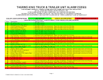 THERMO KING TRUCK TRAILER UNIT ALARM CODES