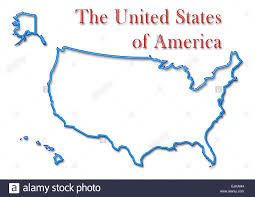 Blank Map Of The United States Of America by The United States Of America Map With Neon Blue Outline And Red