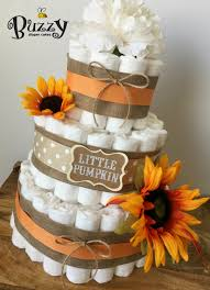 fall diaper cake orange sunflower baby shower gender neutral