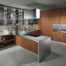 Built In Kitchen Cabinets Exquisite Contemporary Style Kitchen Features Brown Wooden Kitchen