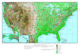 Map Of The Usa large detailed elevation map of the usa with roads and major