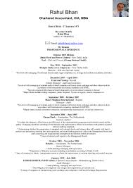 Junior Accountant Resume Sample by Sample Resume For Chartered Accountant Resume For Your Job